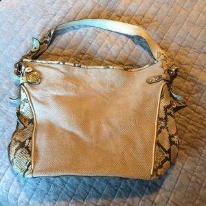Snakeskin and canvas Brahmin Bag